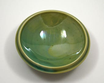 Green Ring Dish/ Green Porcelain Ring Dish/ Small Porcelain Bowl/ Green Ceramic Dish/ Wedding Gift