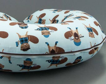 Hipster Beavers Boppy Cover, Nursing Pillow Cover, Boppy Slipcover with Zipper and Piping, Cotton Boppy Cover, Boppie Cover, Hipster Baby