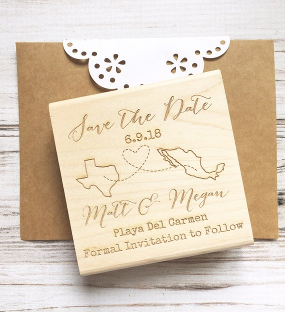 Save the Date Stamp States Connected by Heart, Custom Wedding Stamp