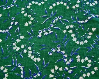 Vintage Fabric 1940s Green Lily of the Valley or Snow Drops Floral Print Flowers Cotton Fabric