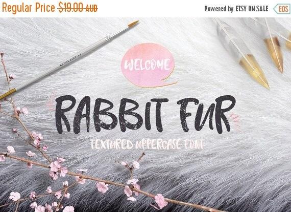 Digital Fonts 80% Off SALE Digital Fonts Rabbit Fur - Digital Typeface - Hand drawn Fonts - Instant Download