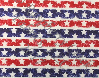 Red White and Blue Stars and Stripes 4 Way Stretch Jersey Knit Fabric, Patriotic Prints By Ella Randall for Club Fabrics, 1 Yard