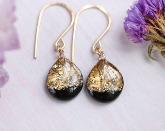 black and gold leaf teardrop earrings on 14 karat gold fill ear wires