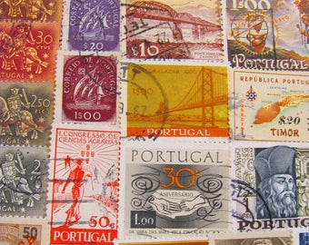 Lisbon or Not 50 Vintage Portugese Postage Stamps Portugal República Portuguesa Azores Madeira Port Europe Scrapbooking Worldwide Philately