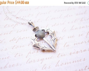 SALE Necklace, Silver Necklace, Thistle Necklace, Scottish Thistle, Heart Necklace, Handmade Necklace, Pendant Necklace, Gift for Her, Gift