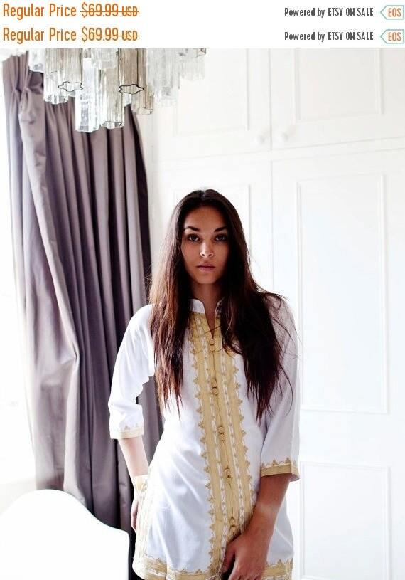 20% OFF Winter Sale// Handmade White & Gold Moroccan Tunic-perfect for birthday gifts, beach, resort wear, honeymoon gifts, bohemian