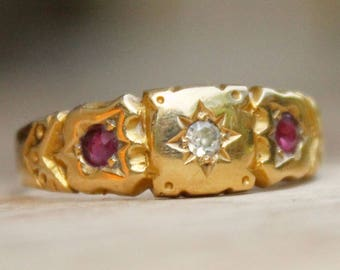 18ct Gold Ring Ruby Diamond Jewellery Antique 1901 Victorian Jewelry 18K Ladies Antique Ruby Ring Diamond Jewellery Original Old Jewelry