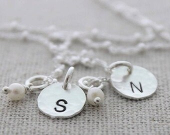 hand stamped tiny tokens initials mothers necklace for 2 kids, two kids,  initial disc tags and birthstones push present for new mom