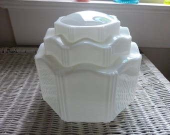 Beautiful, Deco, MILK GLASS, Pendant Lamp SHADE   Perfect Condition