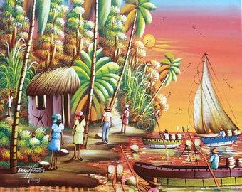 "Art of Haiti, Boats - Haitian Village -  Haitian Canvas Painting - Ethnic Art, Canvas Art, Haitian Art, Original Painting - 20"" x 24"""