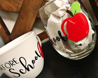 Before School / After School Mug & Wine Glass Set