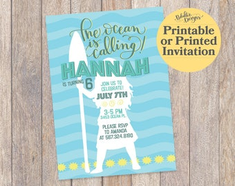 Moana Invitations, Moana Party Invitation, Moana Birthday Invitation, Moana Printable Invite, Moana Birthday Party, Hawaiian Invitation