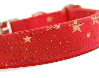 Handmade Dog Collar - A Gold Star for You - Custom Made Red Dog Collar with Gold Stars and Gold Polka dots
