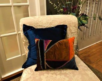 Boho Chic Pillow Antique Velvet Crazy Quilt Handmade