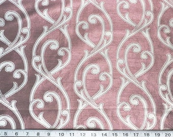 Custom Curtains Valance Roman Shade Shower Curtains in Mauve / Ivory Scroll Pattern Fabric
