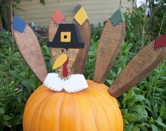 Large Turkey Pumpkin Pokes Thanksgiving Decor Pilgrim Turkey Kit