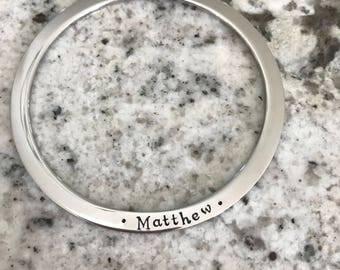 Personalized bangle bracelet , flat edge, hand stamped stainless steel