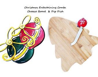 Christmas Vintage Tableware Combo/ Cheese Board Spreader/ Dip Dish/ Xmas Entertaining Tableware