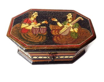 Antique Hand Painted Wooden Box from Kashmir India/ + 80 Years/ Hindu Lute and Drum Players