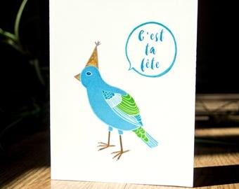 C'est ta fête carte de souhait, carte de voeux, illustration oiseaux, party animal, fait au québec, mignon, carte de fête drole, oiseau bleu