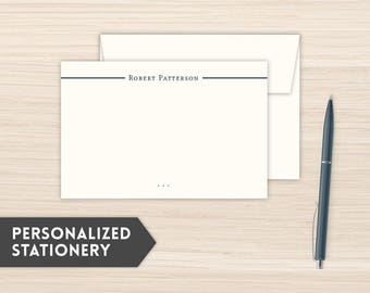 Personalized Stationery | Gentleman's Notecards | Custom Stationery Cards | Custom Personal Note Cards | Personal Notecards  | Navy Plaid