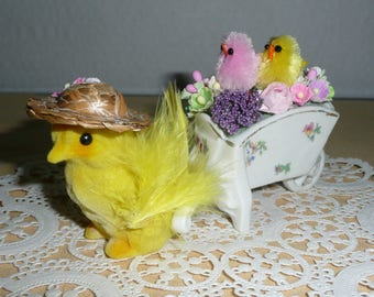 Flocked Easter Chick Pulling a Cart of Easter Flowers, Easter Decoration
