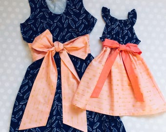 Feather and Arrows Mommy and Me Dresses - Mommy and Me Set - Mommy and Me Outfits - Mother Daughter Matching Dresses - Mothers Day - Feather