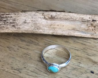 Turquoise Stackable Ring Natural Kingman Mine Sterling Silver Size 5