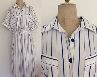 1980's Blue & White Striped Cotton Vintage Shirtwaist Dress Plus Size XL XXL by Maeberry Vintage