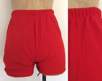20% OFF 1970's Red Ribbed Hot Pants Vintage Shorts Size XS Small by Maeberry Vintage