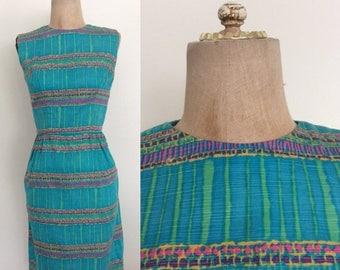 20% OFF 1960's Turquoise Silk Striped Vintage Wiggle Dress Suze XXS XS Petite Junior Teen Size Vintage Dress by Maeberry Vintage