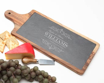 Wood Cheese Board, Personalized Slate Board, Acacia Wood Slate Cheese Board, Monogrammed Gifts, Personalized Wedding Gift, Housewarming D34