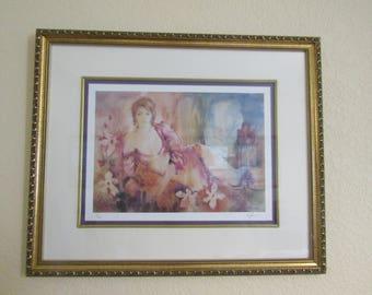 """Vintage KOLISMAN """" Sunbather"""" Signed Limited Edition Lithograph-- Framed"""