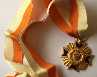 Vintage Medal Orange and White Ribbon Crown Stars Moon Knight