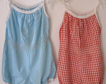 Two Vintage 1960s Ginham Youth Sunsuits