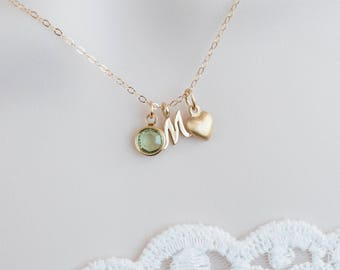 Birthstone Initial Necklace, Gold Personalized Necklace - Swarovski Birthstone, Gold Filled Tiny Heart Charm and Letter Charm
