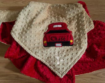 Personalized Minky Baby Blanket, Appliqued Truck Minky Baby Blanket, Baby Boy Blanket, Personalized Baby Gift,  Red Pickup Truck Blanket