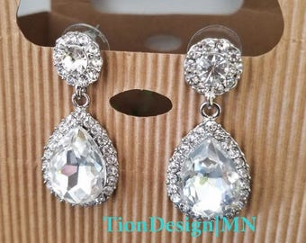 Summer Sale Bridal Rhinestone earrings, Bridal jewelry, Drop earrings 2709-S
