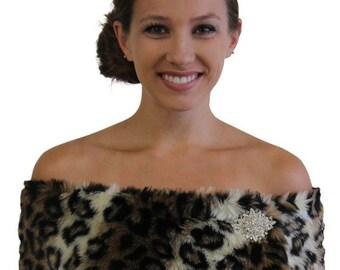 Spring Sale Bridal wrap, Bridal Shawl, Leopard Print Faux Fur Stole, Faux Fur Shrug, Faux fur Shawl, Faux fur Cape, Bridal Fur cape