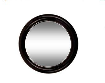 SUMMER SALE Mod Black Plastic Round Mirror by Interdesign