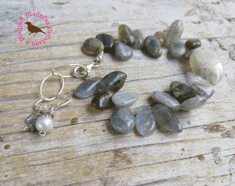 Labradorite Bracelet, Chunky Statement Bracelet, Moonstone Bracelet, Sterling Adjustable, Labradorite MoonStones, by MagpieMadness for Etsy