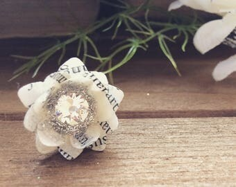 Paper Flower Ring - Recycled Book Paper - Original Colorless- Adjustable