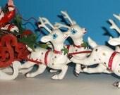"""Vintage Plastic Christmas Santa Claus Reindeer & Sled - 19"""" Long"""