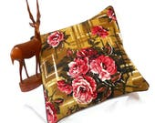 Rose Retro cushion - Floral Abstract design in 50s Vintage Fabric ROSE  Barkcloth