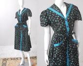 XL 1950s Dress / Floral Cotton Dress / 50s Dress