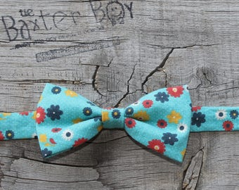 Aqua blue floral bow tie for little boys - photo prop, ring bearer, wedding