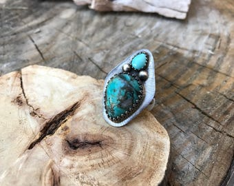 Natural Turquoise and Sterling Silver Statement Ring - Size 6.5