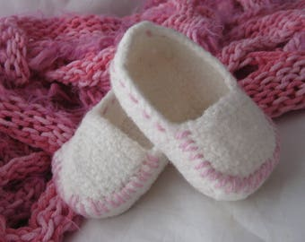 White Wool Crochet Felted Moccasin Baby Bootie, Sizes S M L,  Made to Order, Top Stitched Pink, Babies First Loafers, Baby Toddler Moccasins