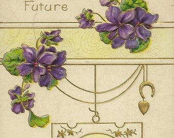 Purple Violets With Golden Horseshoe and Heart Embossed Vintage Postcard with Best Wishes for a Bright Future 1918