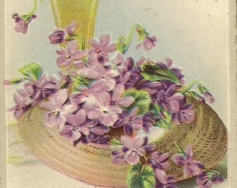 Elegant Feminine Embossed Unused Vintage Postcard Purple Violets in Straw Hat and Vase – Wishes Sincere